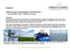"Course:   ""Wind Energy & Technologies of  Wind Power"" 1– 06 December, 2014 – Berlin (Germany)"