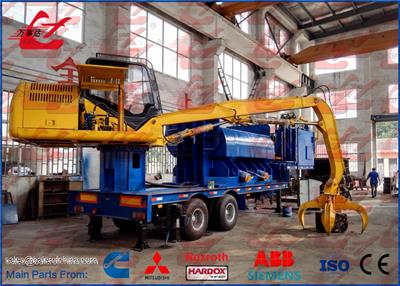 WANSHIDA - Model Y83/D-3000A - Mobile Hydraulic Metal Baler Logger With Grab And Trailer Diesel Engine Power 3m Press room Length