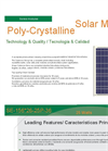 Model SE-156 -26-25P-36 - 25 Watts Polycrystalline Solar Modules Brochure